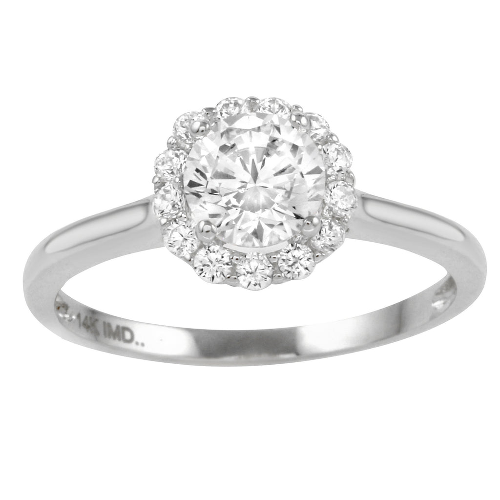 14k Gold CZ Round Brilliant Halo Engagement Wedding Ring - Bee Jewels