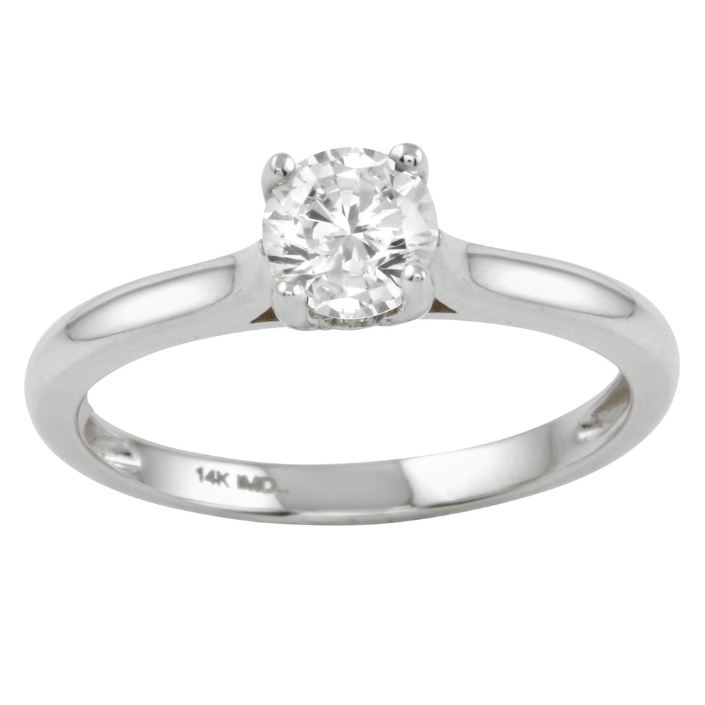 14k Gold CZ Round Brilliant Classic Solitaire Engagement Wedding Ring - Bee Jewels
