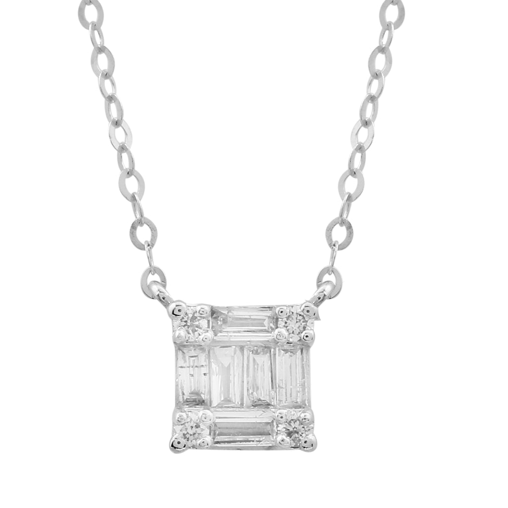 "REEMARK™ 18k White Gold Baguette Diamond Square Pendant Necklace (1/10 cttw, I-J Color, I1-I2 Clarity), 15+2"" Extender"