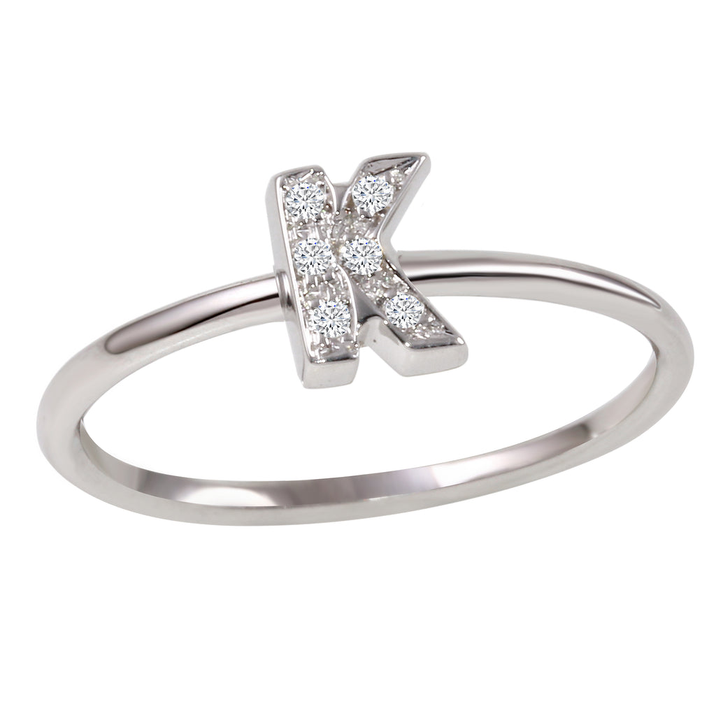 "18k White Gold Diamond Initial ""K"" Ring"