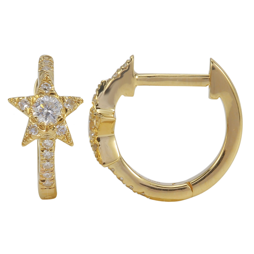14k Yellow Gold Round Diamond Accents Star Celestial Hoop Earrings (1/6 cttw)