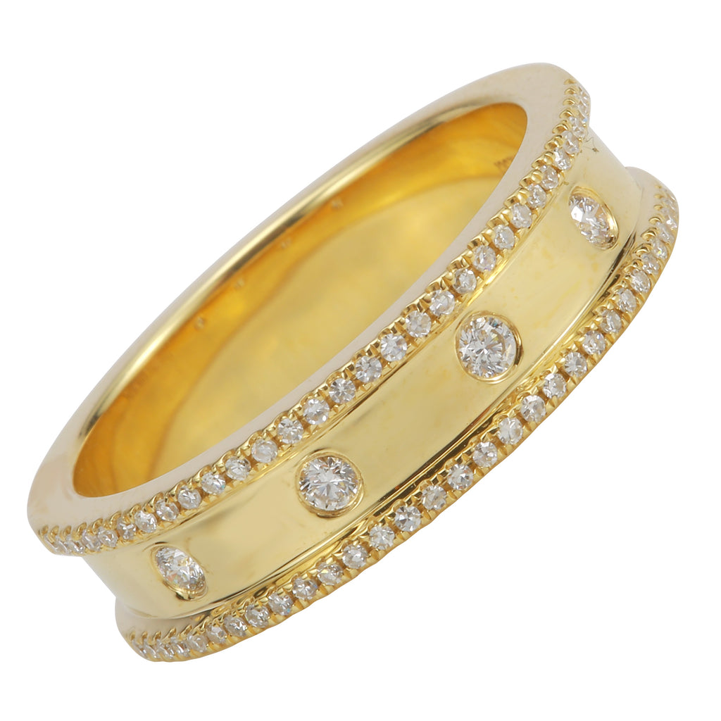 14k Yellow Gold Diamond Bezel Pave Band Ring (1/4 cttw, I-J Color, I1-I2 Clarity)
