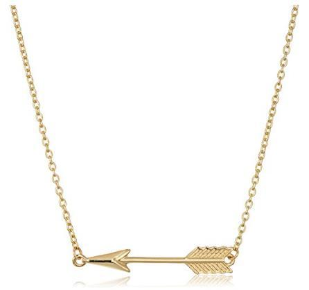 "14k Yellow Gold Suspended Arrow Pendant Necklace, 16+1"" Extender"