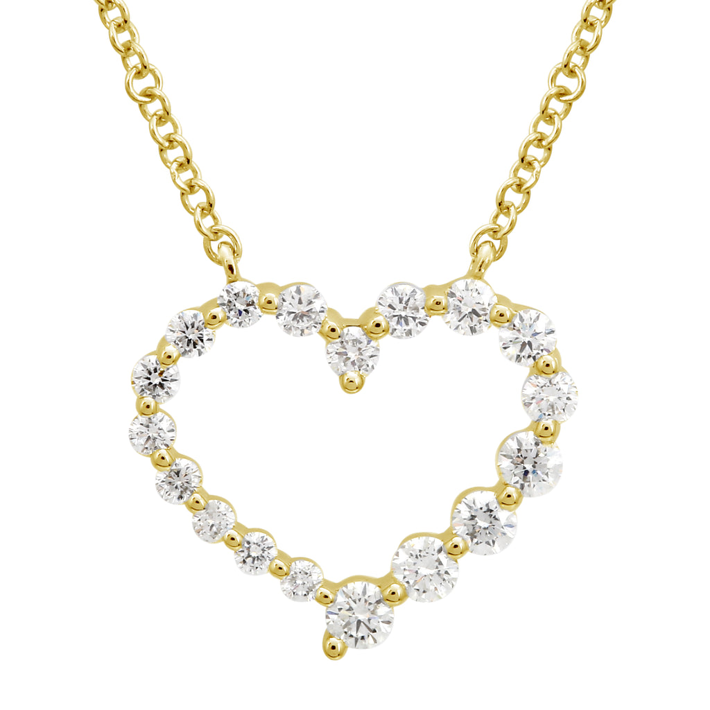 14k Yellow Gold Diamond Floating Open Heart Pendant Necklace (3/8 cttw), 16+2""