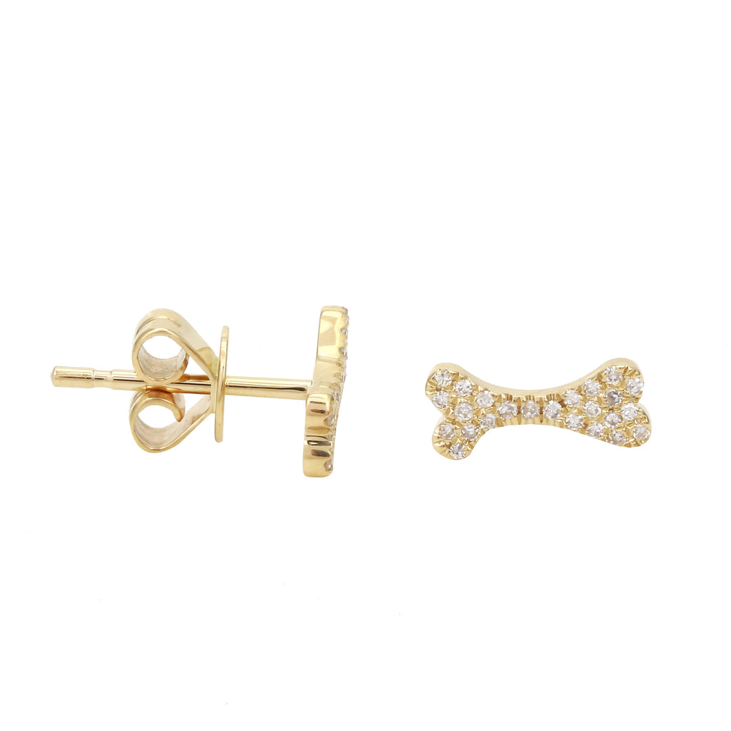 14k Yellow Gold Diamond Pet Dog Bone Stud Earrings (1/10 cttw)