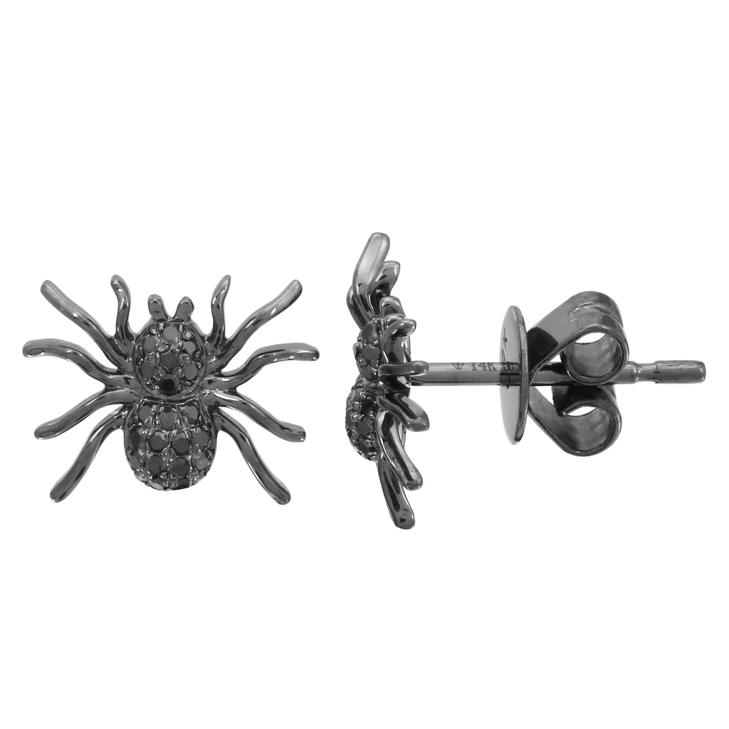 14k White Gold Black Diamond Rhodium Spider Stud Earrings (1/10 cttw)