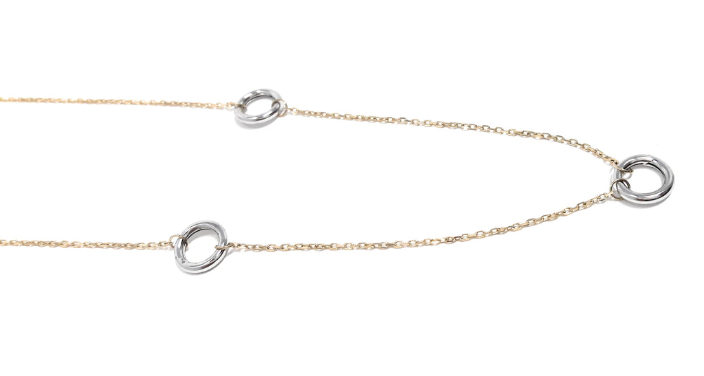 14k Yellow and White Gold Triple Circle Pendant Necklace, 18""