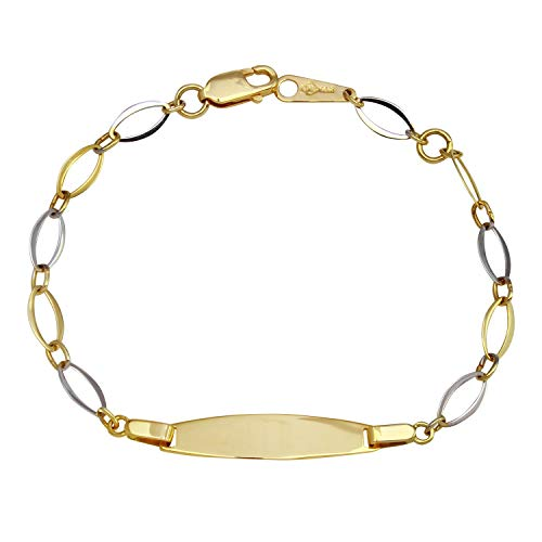 14k Two-Tone Gold Baby ID Link Bracelet, 6.25""