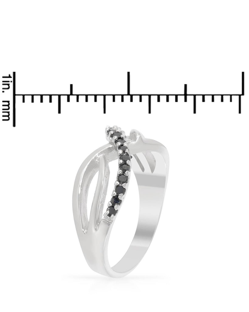 Black CZ Infinity Ring Sterling Silver