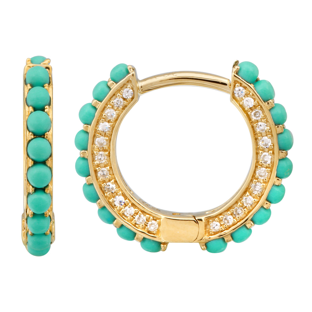 14k Yellow Gold Diamond Turquoise Beaded Hoop Earrings (1/5 cttw, I-J Color, I2-I3 Clarity) 12mm Diameter