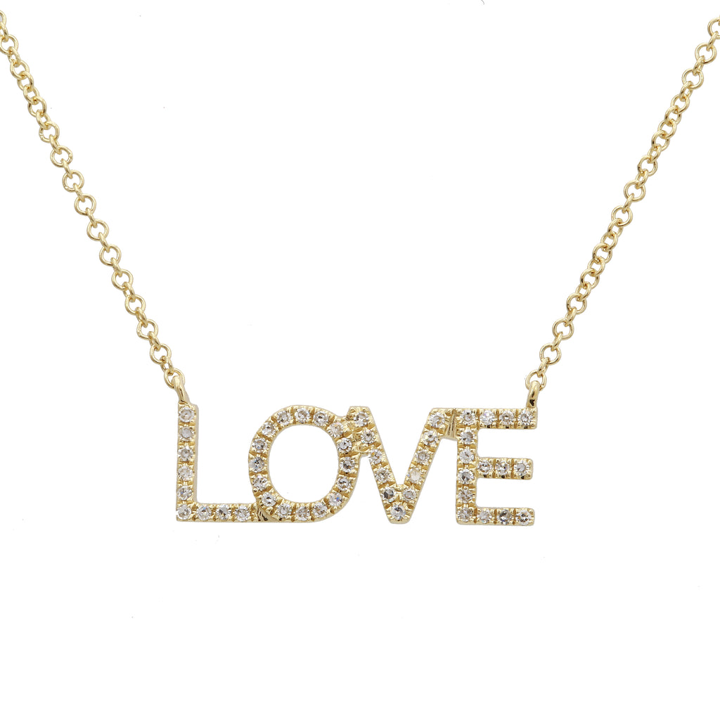 14k Yellow Gold Diamond Pave Love Message Pendant Necklace (1/10 cttw, H-I, I1-I2), 16+2""