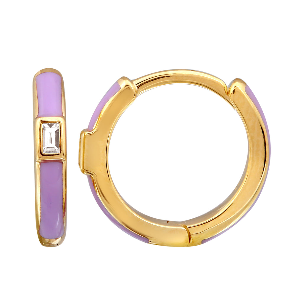 14k Yellow Gold Diamond Baguette Lavender Enamel Hoop Earrings (1/20 cttw), 11mm Diameter