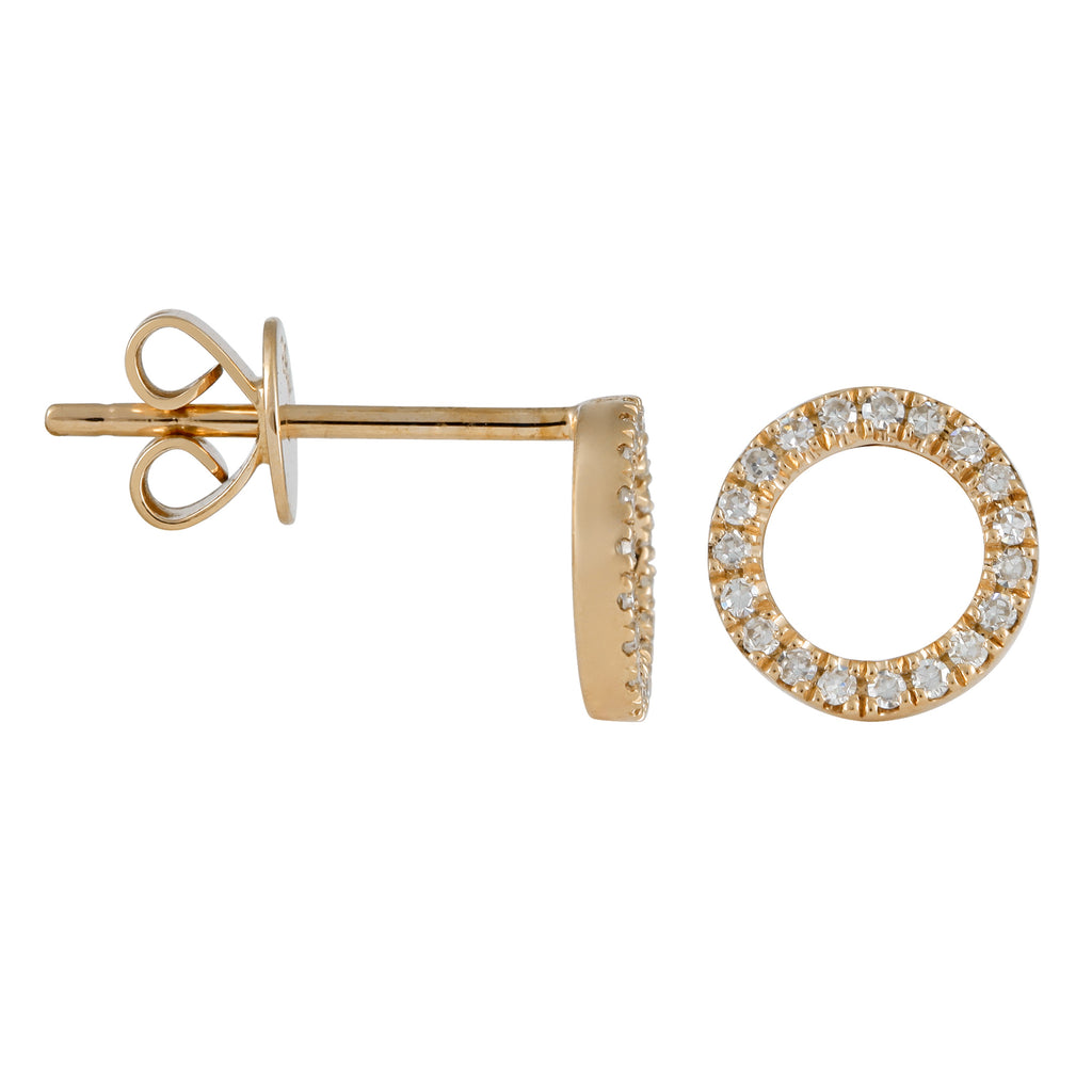 14k Yellow Gold Diamond Open Circle Stud Earrings (1/10 cttw, H-I Color, I1-I2 Clarity)