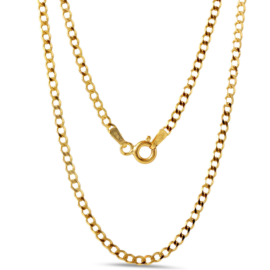 10k Yellow Gold Italian 2.2mm Cuban Chain Necklace, 18""