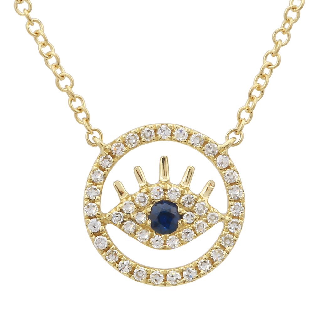 14k Yellow Gold Diamond Sapphire Floating Evil Eye Pendant Necklace (1/10 cttw, I-J Color, I2-I3 Clarity), 16+2""