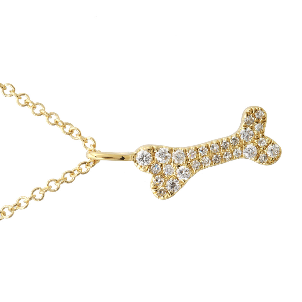 14k Yellow Gold Diamond Accent Dog Bone Pendant Necklace (1/10 cttw), 16+2""