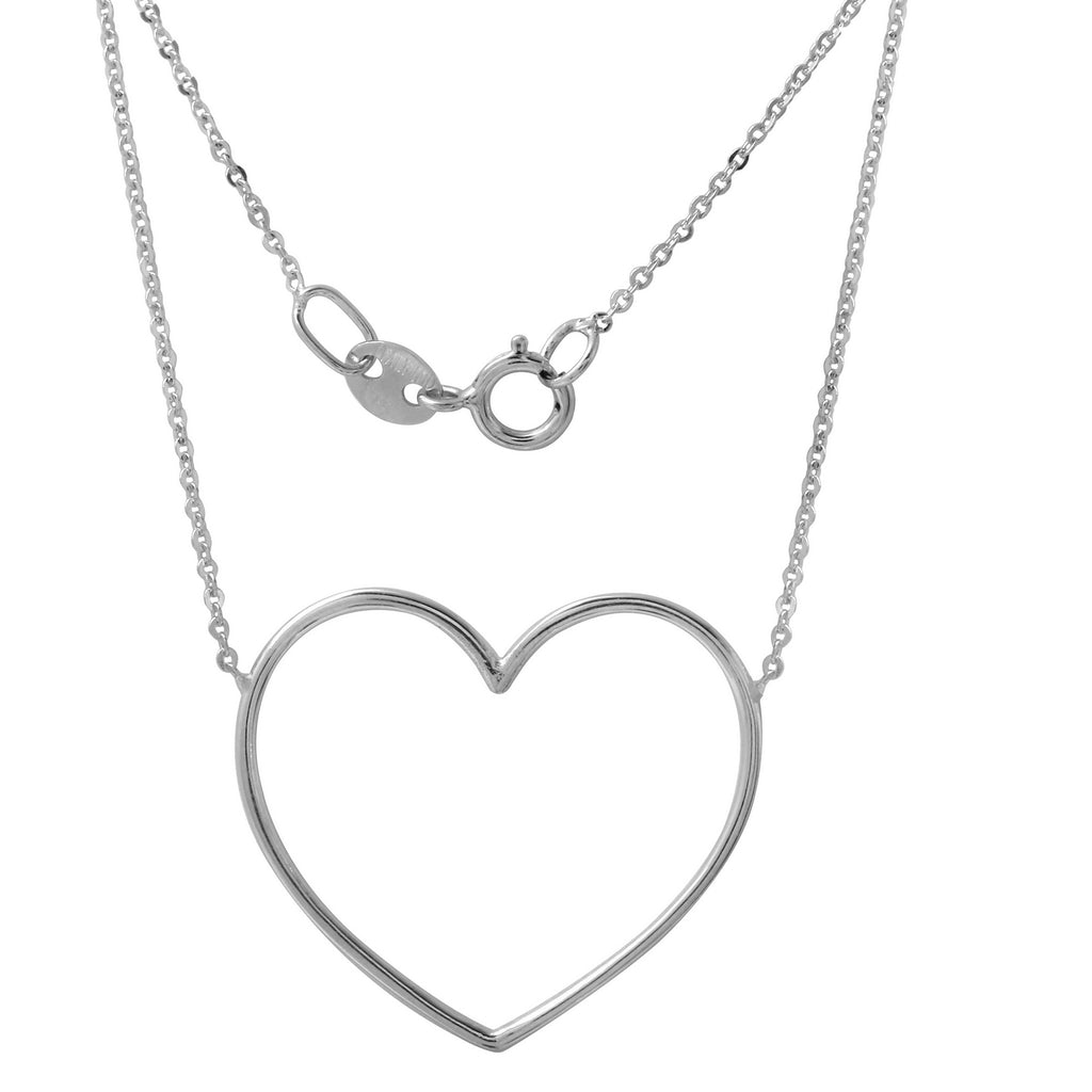"14k Italian White Gold Heart Necklace, Adjustable 16"" to 18"" - Bee Jewels"