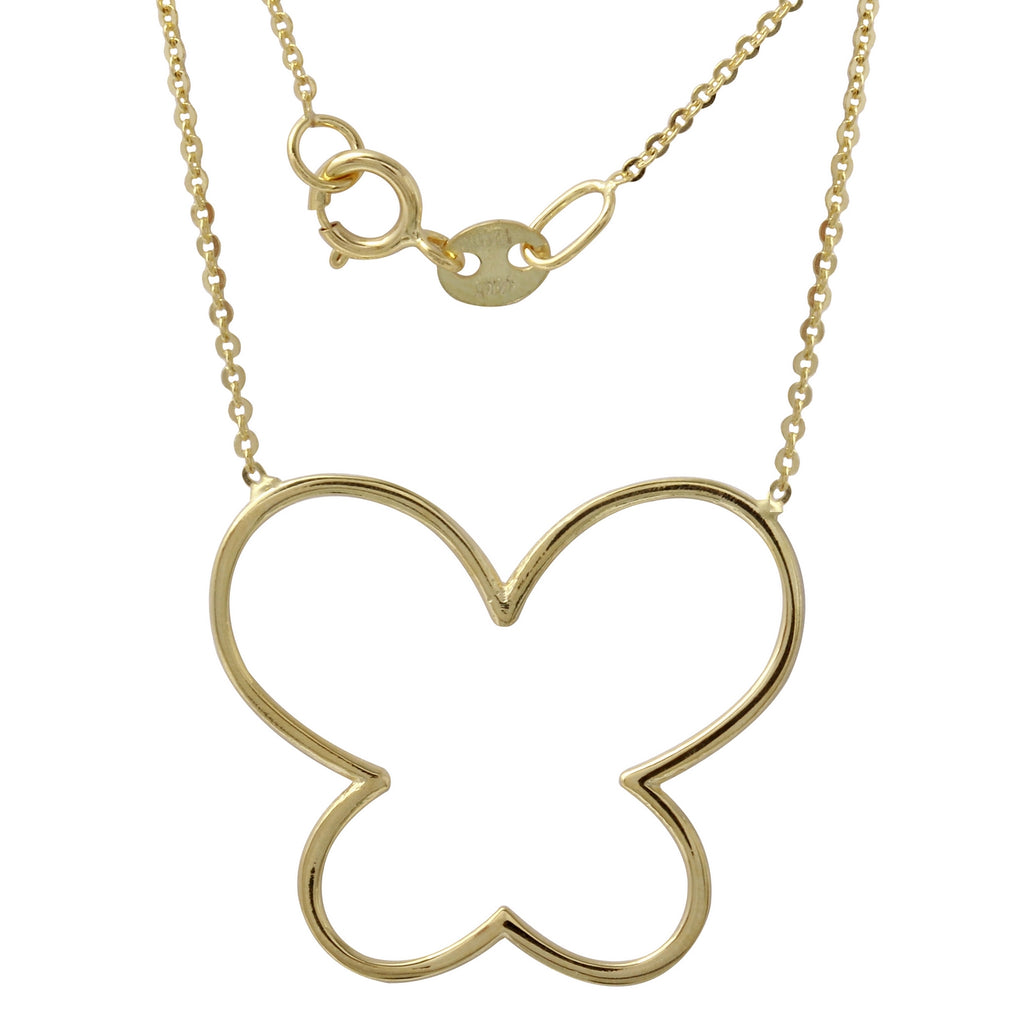 "14k Yellow Gold Italian Open Butterfly Necklace, 16+2"" Extender"