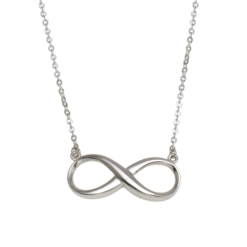 "14k White Gold Infinity Pendant Necklace, 16+2"" Extender"