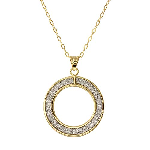 Bee Jewels 14k Yellow Gold Italian Glitter Open Circle Pendant Necklace, 18""