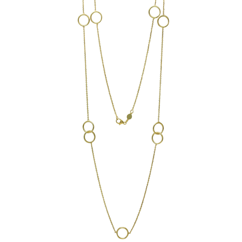 14k Yellow Gold Italian Intertwined Circles Fancy Necklace, 36""