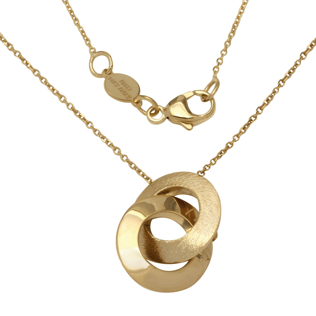 "14k Yellow Gold Italian Intertwined ""I Love You"" Circles Fancy Necklace, 16+4"" Extender"