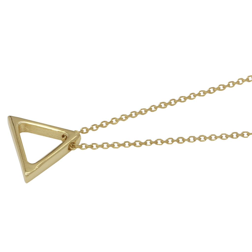 "14k Yellow Gold Italian Fancy Sliding Triangle Pendant Necklace, 16+4"" Extender"
