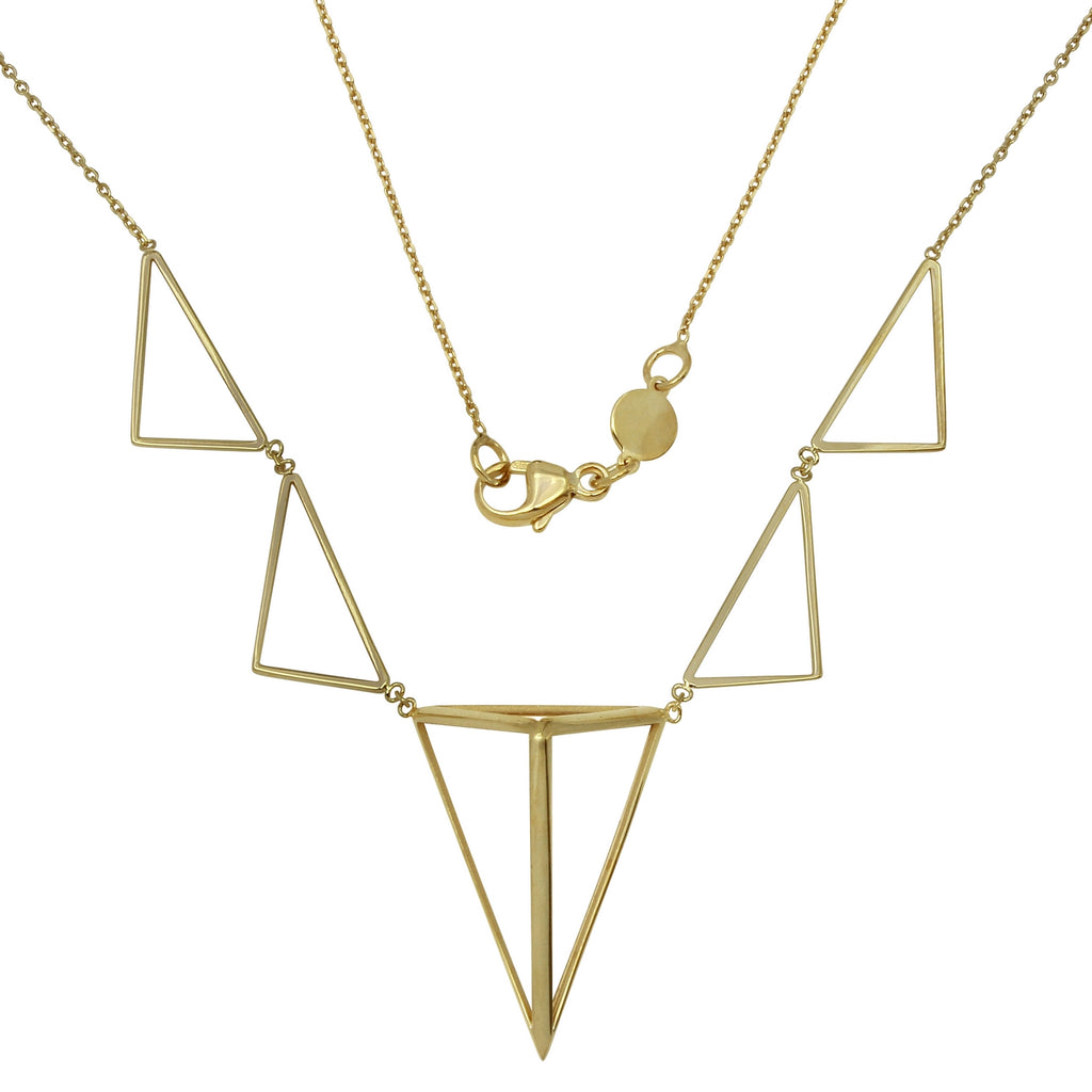 "14k Yellow Gold Italian 3D Graduated Triangles Necklace, 16+4"" Extender"