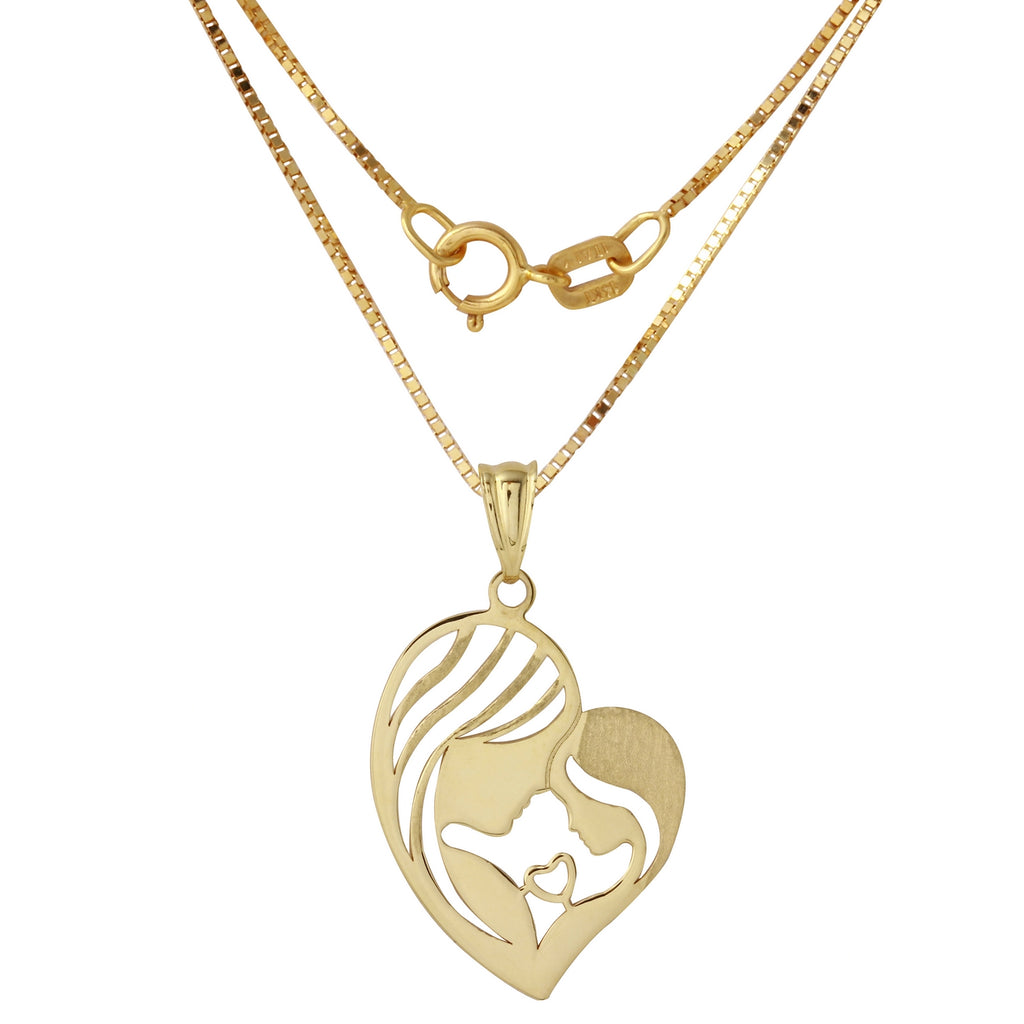 14k Yellow Gold Mother & Child Heart Pendant Necklace, 18""