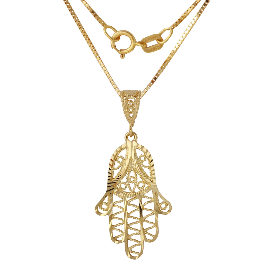 14k Yellow Gold Hamsa Hand Pendant Necklace, 18""