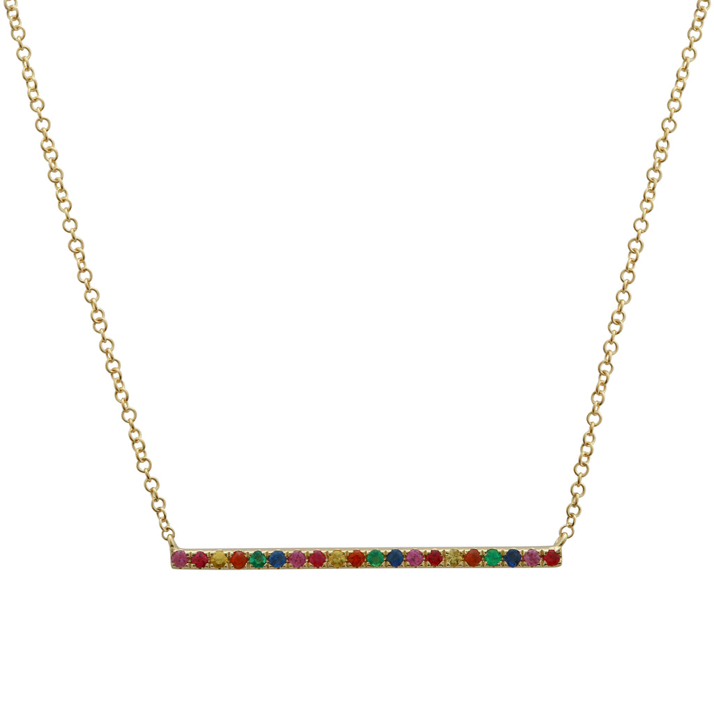 """Remark"" 14k Yellow Gold Rainbow Sapphire Bar Pendant Necklace (1/5 cttw), 16+2"" Extender"