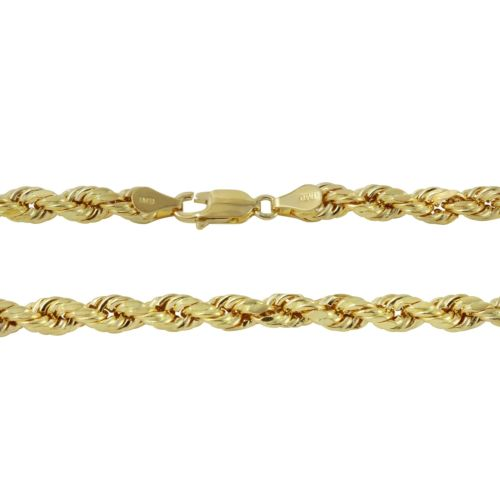14k Yellow Gold 8.0mm Diamond-Cut Rope Chain Necklace, 24-30""