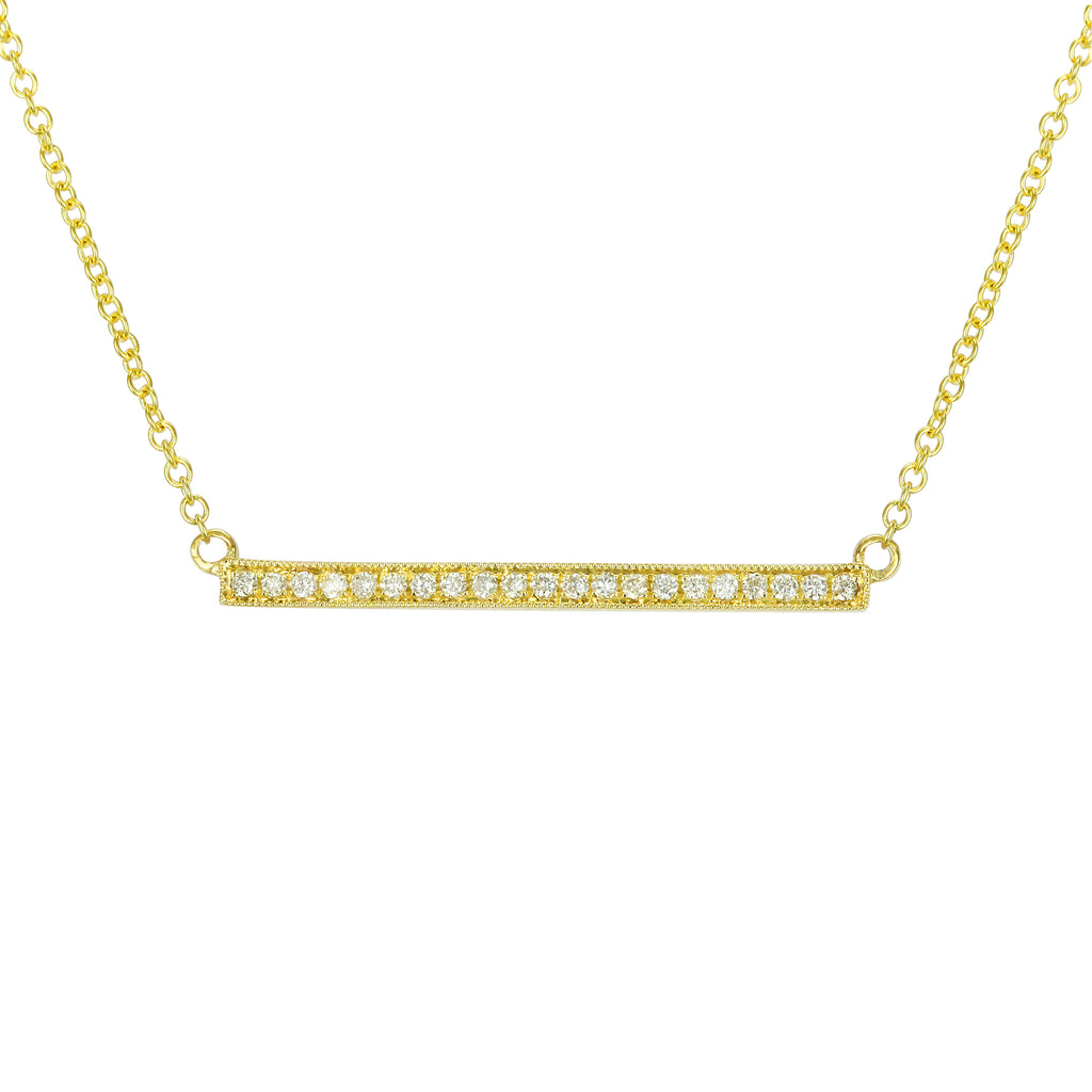 """Remark"" 14k Yellow Gold Diamond Accent Bar Pendant Necklace (1/10 cttw, J-K Color, SI2-I1 Clarity), 16+2"" Extender"