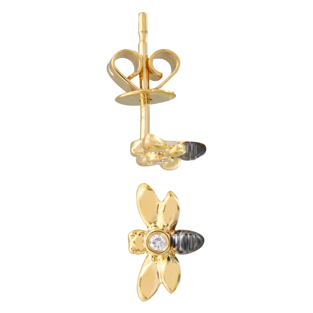 14k Yellow Gold Black Rhodium Diamond Floating Bee Stud Earrings (1/20 carat)