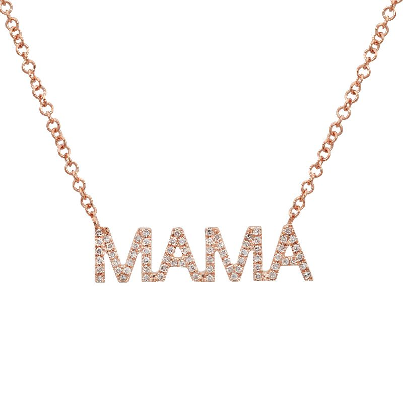 "14k Gold Diamond Mama Pendant Necklace (1/4 cttw), 16-18"" Adjustable"