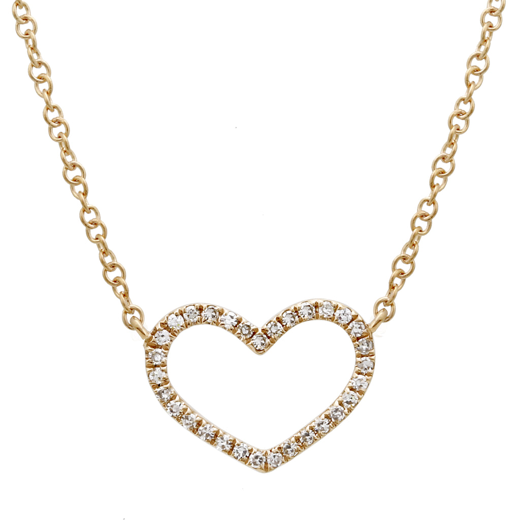 "14k Yellow Gold Diamond Pave Open Heart Pendant Necklace (0.08 cttw, H-I Color, I1-I2 Clarity), 16+2"" Extender"