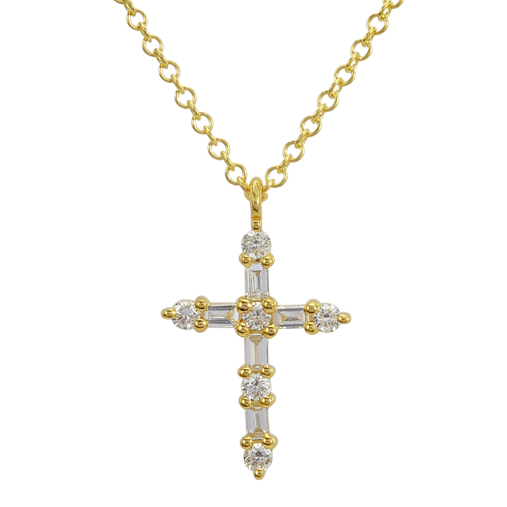 "14k Yellow Gold Baguette Round Diamond Cross Pendant Necklace (1/10 cttw, J-K Color, SI2-I1 Clarity), 16+2"" Extender"