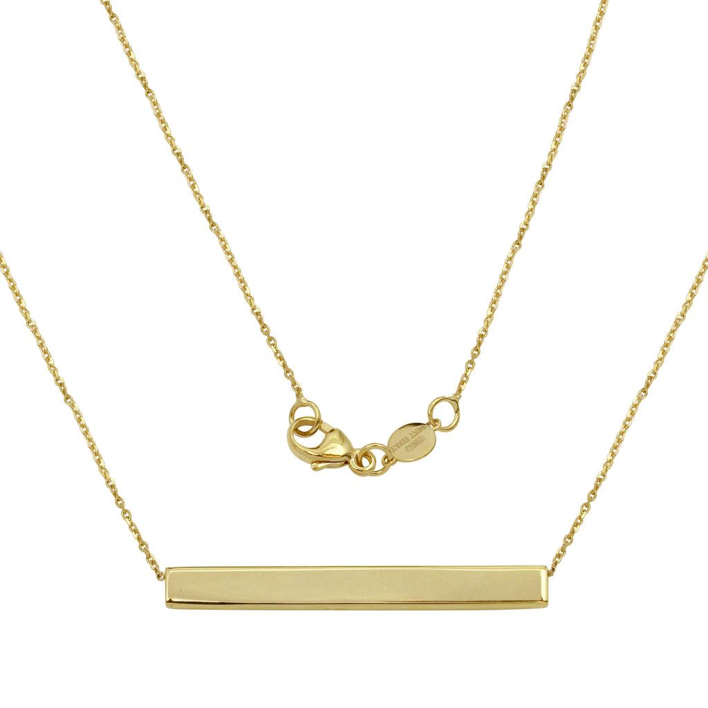 "14k Italian Yellow Gold Bar Fancy Necklace, Adjustable 16"", 18"", 20"" - Bee Jewels"