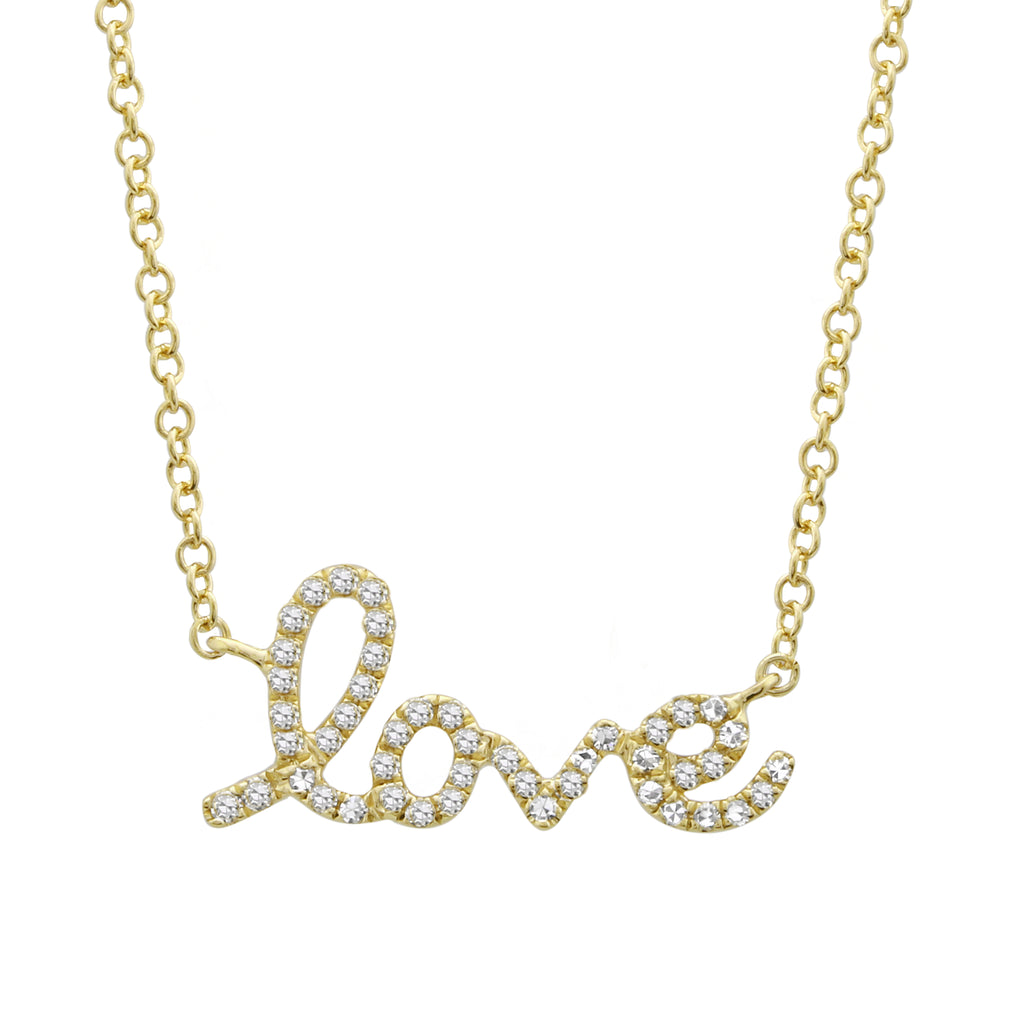 14k Yellow Gold Diamond Pave Cursive Love Pendant Necklace (1/10 cttw, H-I, I1-I2), 16+2""