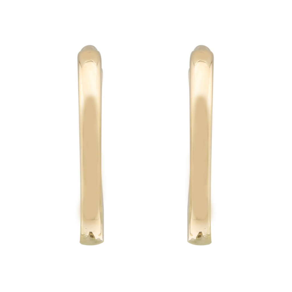 14k Yellow Gold Smooth Huggie Hoop Earrings, 9mm Diameter