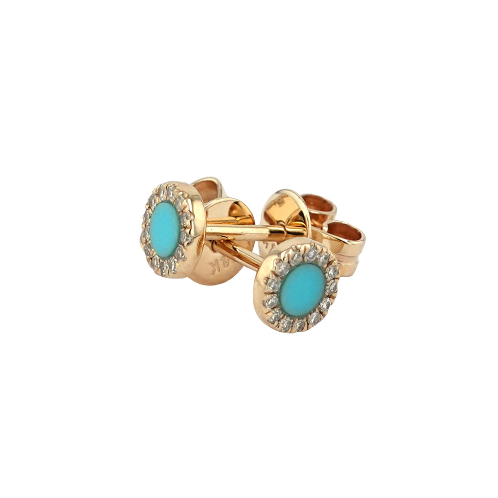 14k Yellow Gold Diamond Turquoise Halo Stud Earrings (0.07 cttw, I-J Color, I2-I3 Clarity)