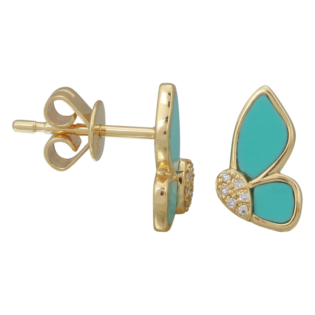 14k Yellow Gold Diamond Turquoise Butterfly Stud Earrings (1/20 cttw, H-I Color, I2-I3 Clarity)