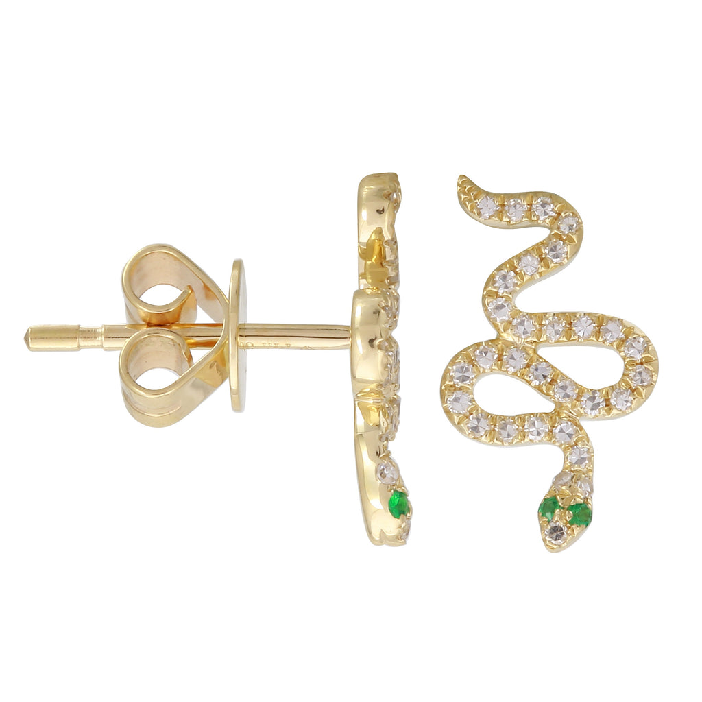 14k Yellow Gold Diamond Accent Tsavorite Snake Eye Stud Earrings (1/6 cttw)