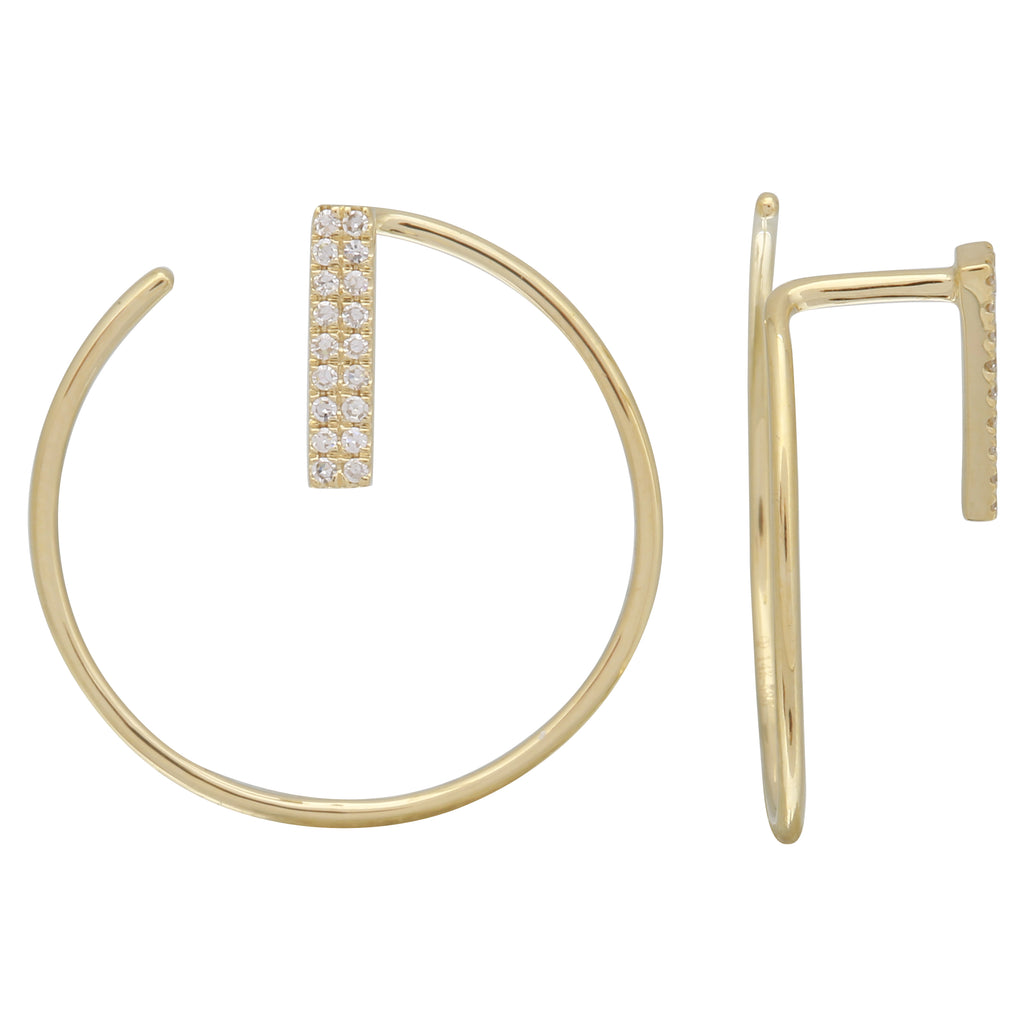14k Yellow Gold Diamond Big Hoop Earrings (1/20 cttw), 20mm Diameter