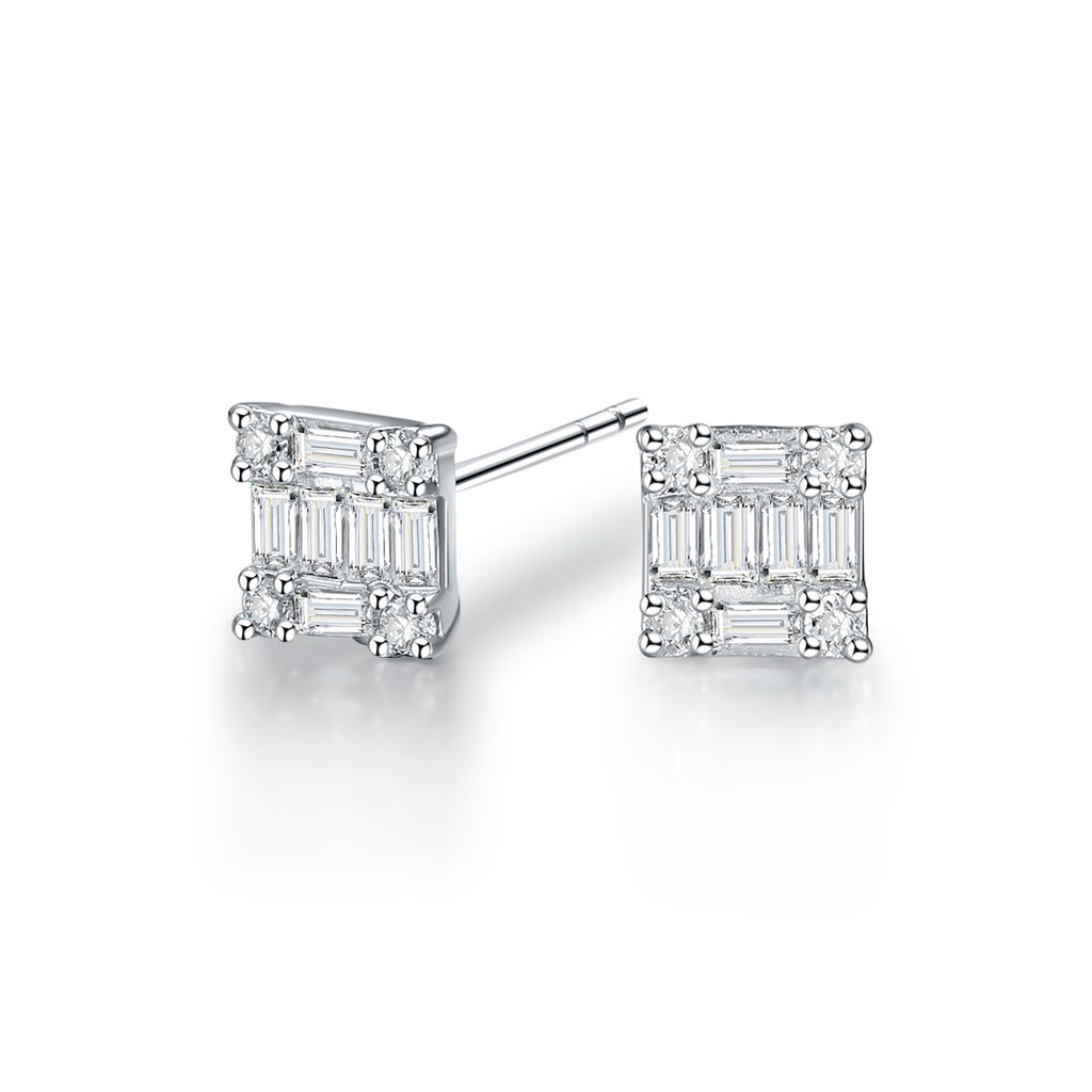 REEMARK™ 18k White Gold Baguette Diamond Square Stud Earrings (1/5 cttw, I-J Color, I1-I2 Clarity)