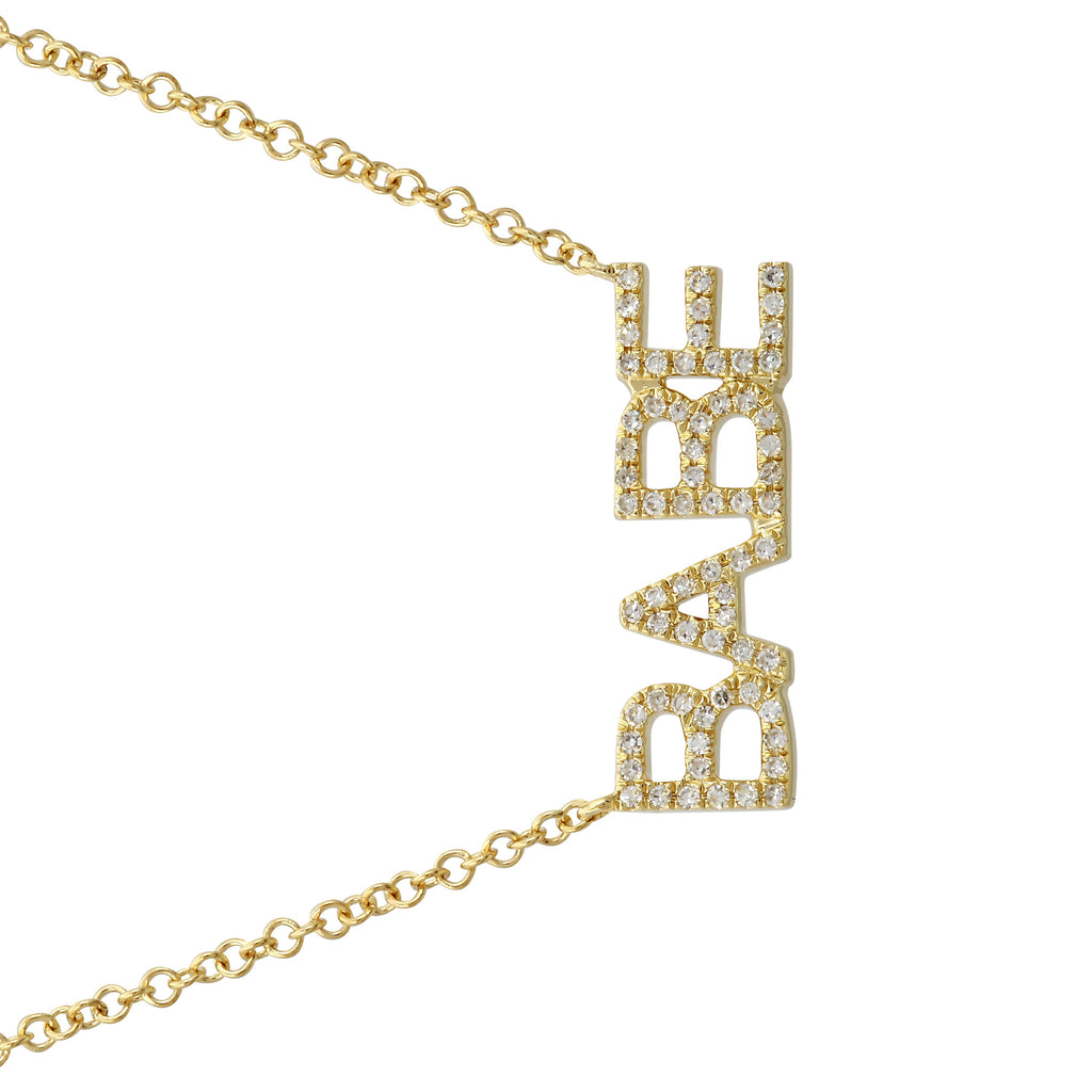 "14k Yellow Gold Diamond Pave BABE Pendant Necklace (1/10 cttw, H-I Color, I1-I2 Clarity), 16+2"" Extender"
