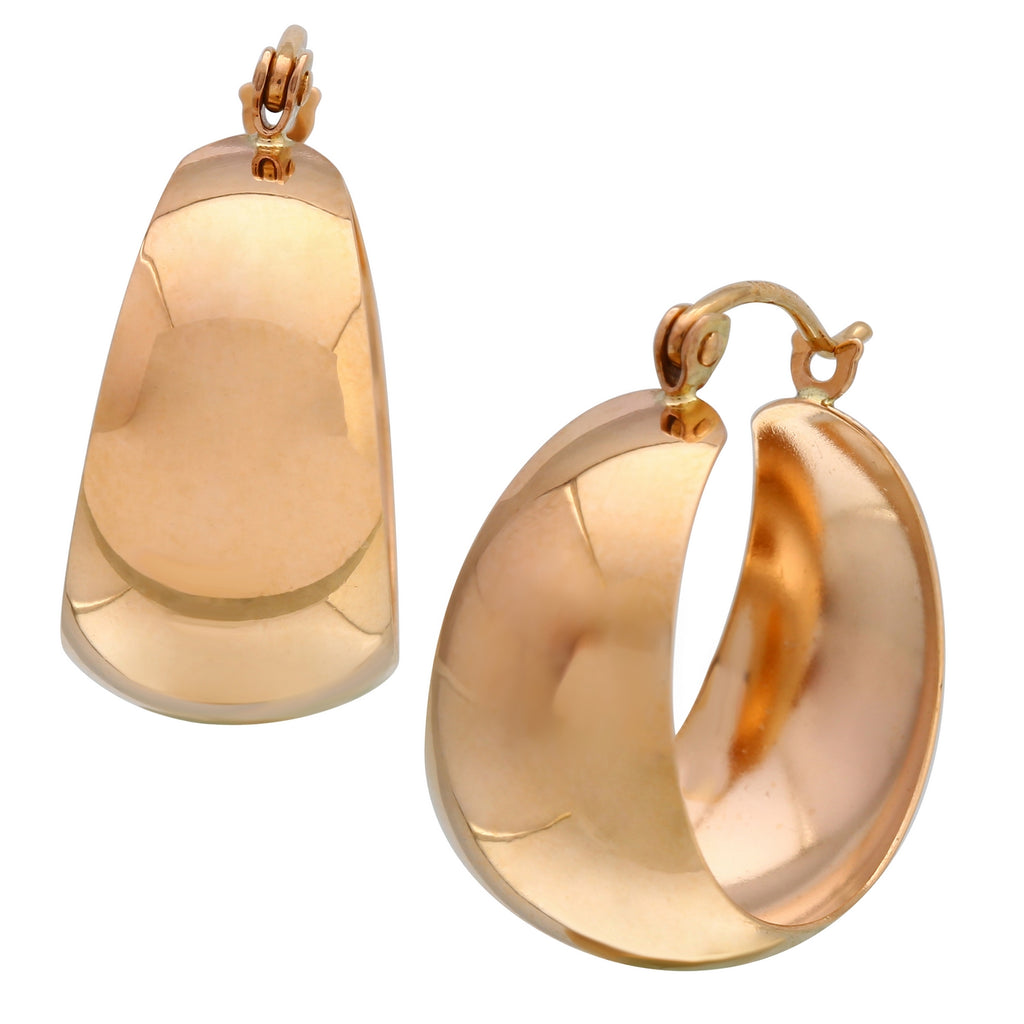 14k Rose Gold Hoop Earrings - Bee Jewels
