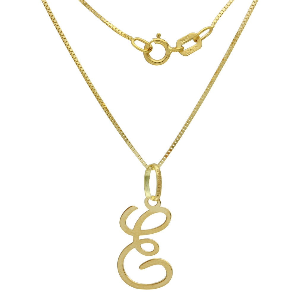 "14k Yellow Gold Cursive Initial ""E"" Pendant Necklace, 18"" - Bee Jewels"