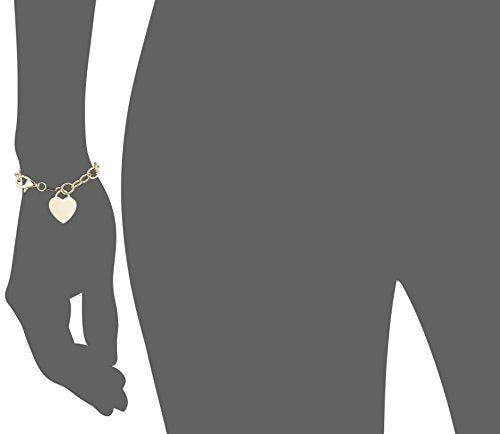 Yellow Gold Plated Sterling Silver Flat Heart Charm Bracelet, 7.5""