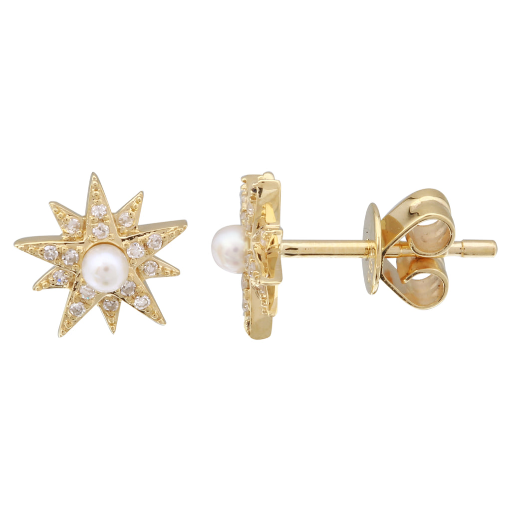14k Yellow Gold Diamond Fresh Water Pearl Burst Stud Earrings (0.07 cttw, I-J Color, I2-I3 Clarity)